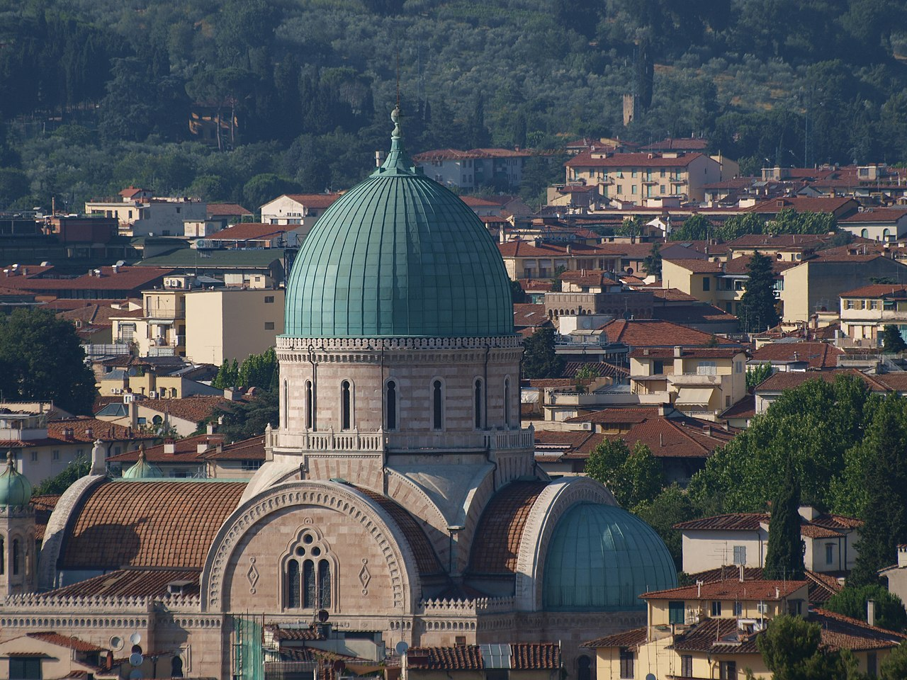 Panoramic view from Piazzale Michelangelo on the synagogue of Florence