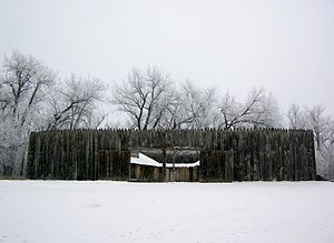 Fort Mandan - Winter view of reconstructed Fort Mandan, North Dakota