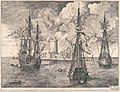 Four-master and Two Three-masters Anchored near a Fortified Island from The Sailing Vessels MET DP102238.jpg