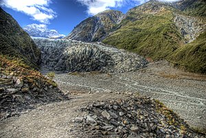 Fox Glacier - The glacier reaching the rainforest in 2007.