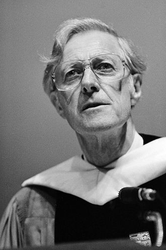 Frank H. T. Rhodes - Black-and-white image of Frank H. T. Rhodes taken 1987
