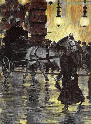 Franz Skarbina - Friedrichstraße on a Rainy Evening (1902)