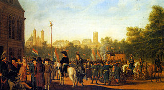 Campaigns of 1794 in the French Revolutionary Wars - French forces raise the cap of liberty in the Neumarkt, Cologne, 1794