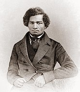 A black and white picture of the Frederick Douglass