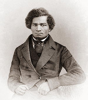 Frederick Douglass (1818–1895), a former slave whose memoirs, Narrative of the Life of Frederick Douglass, an American Slave (1845) and My Bondage and My Freedom (1855), became bestsellers, which aided the cause of abolition. Frederick Douglass as a younger man.jpg