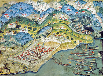 The Siege of Nice by a Franco-Ottoman fleet in 1543 French fleet with Barbarossa at the Siege of Nice 1543.jpg