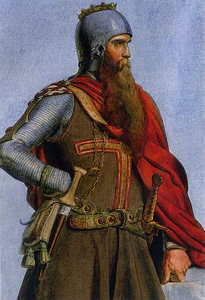 Imperial Sovereign - Emperor Barbarossa, coloured copper engraving from 1847