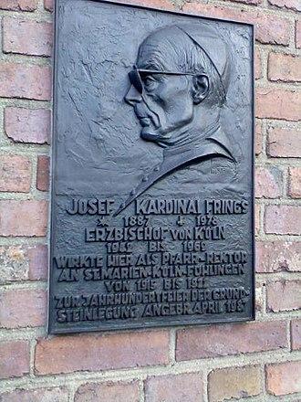 Josef Frings - Memorial tablet for Frings at the parish church of Cologne-Fühlingen.