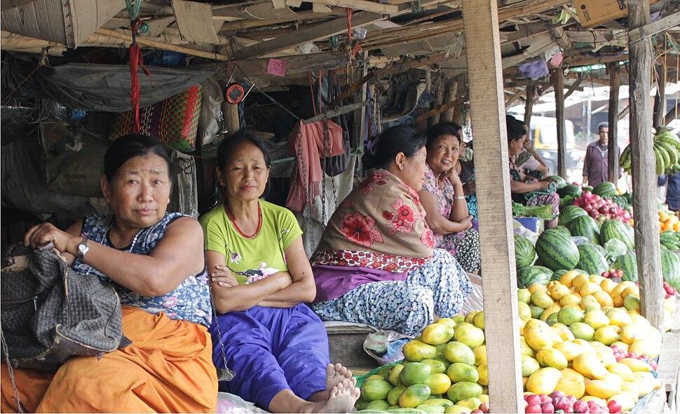 Fruit sellers in Senapati, Manipur, India.