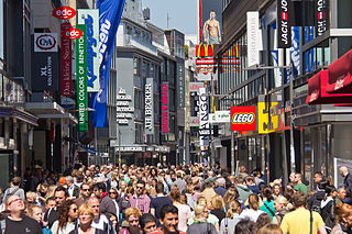 Hohe Straße central shopping street in Cologne, Germany