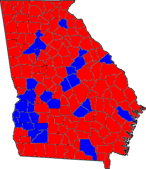 Georgia gubernatorial election, 2006 - Image: GA Counties 06Gub