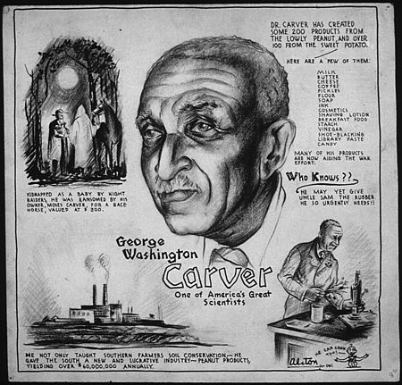 """One of America's great scientists."" U.S. World War II poster circa 1943 GEORGE WASHINGTON CARVER - ONE OF AMERICA'S GREAT SCIENTISTS - NARA - 535694.jpg"