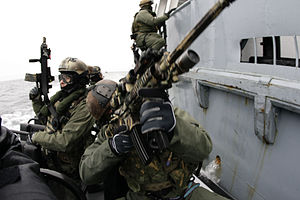 JW GROM - US Navy SEALs and GROM naval warfare team practicing boarding skills near Gdansk, Poland, 2009