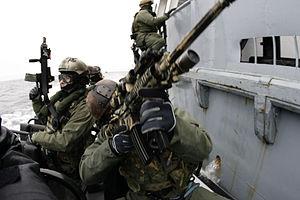JW GROM - US Navy SEALs and GROM naval warfare team practicing boarding skills near Gdansk, Poland, 2009