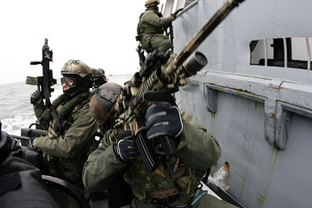 1c1cde98ac8 US Navy SEALs and Grom—Polish naval warfare team members—practicing  boarding skills near