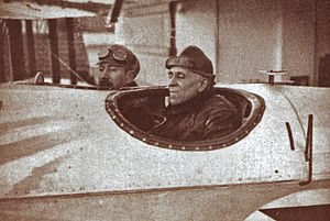 Portuguese Naval Aviation - Lieutenant-Commander Sacadura Cabral and Captain Gago Coutinho in the cockpit of the Fairey III seaplane Lusitânia, at the departure for the first aerial crossing of the South Atlantic.