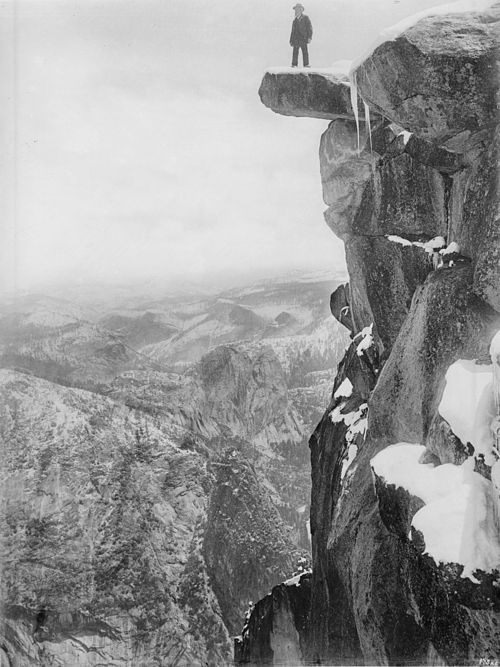 Galen Clark on Glacier Point in Yosemite National Park, ca.1900 (CHS-1207).jpg