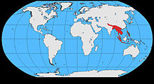 World map showing range confined to Southeast Asia