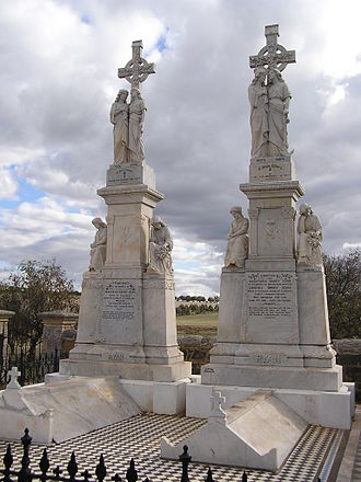 Frank Rusconi - A pair of white marble monuments to the Ryan family at Galong, New South Wales