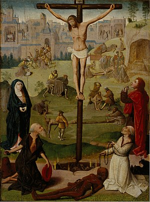 The Crucifixion with St Jerome and St Dominic and Scenes from the Passion