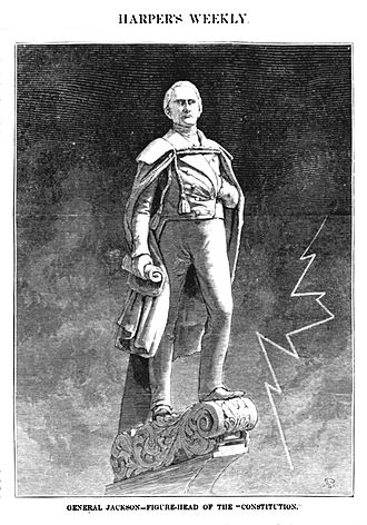 USS Constitution - The Andrew Jackson figurehead as depicted by Harpers Weekly in 1875.