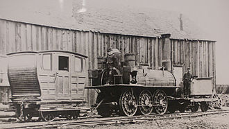 Industrial Cape Breton - General Mining Association's steam locomotive 'Samson' at Albion Mines, Pictou County. The locomotive was built by Timothy Hackworth of Shildon, County Durham, UK and went into service on the first part of the new railway in 1839.