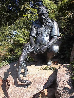 Gerald Durrell - Statue of Gerald Durrell at Jersey Zoo, Jersey, sculpted by John Doubleday