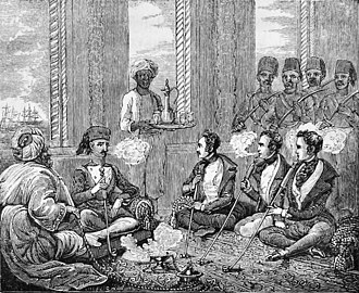 Giaour - Giaours smoking the tchibouque with the pacha of the Dardanelles, book illustration from 1839.