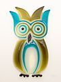 Glass-like resin owl spoon rest blue brown.jpg