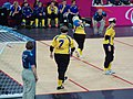 Goalball-2012-London Paralympics SWE F throwing.jpg