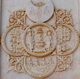 Pañca-Parameṣṭhi - Relief depicting Pañca-Parameṣṭhi (Photo: Shri Mahavirji)