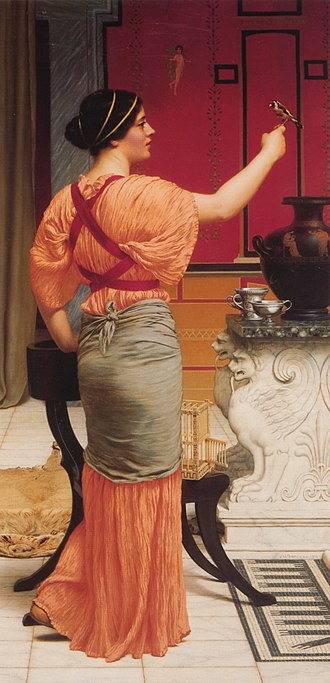 Lesbia - Image: Godward Lesbia with her Sparrow 1916