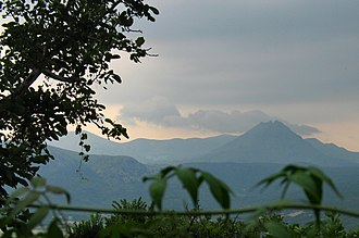 Imbros - Mountains of Imbros, with the highest mountain, the extinct cone-shaped volcano İlyas Dağ on the right