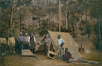 Rockhampton - Overpainted albumen print of Aborigines and gold diggers near Rockhampton, c. 1860s, National Library of Australia