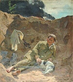 Footwraps - Soviet soldier drying his footwraps