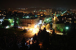 Gornji Milanovac at night