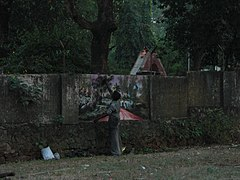 Graffity in the making...(On a wall at Thrissur) CIMG9868