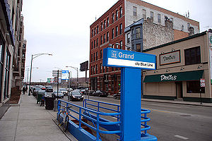 Grand station (CTA Blue Line) - Street level staircase entrance to the station