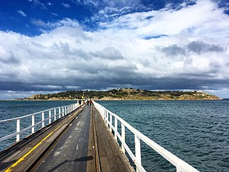 Granite Island (South Australia) - Granite Island and the Causeway as viewed from Victor Harbor