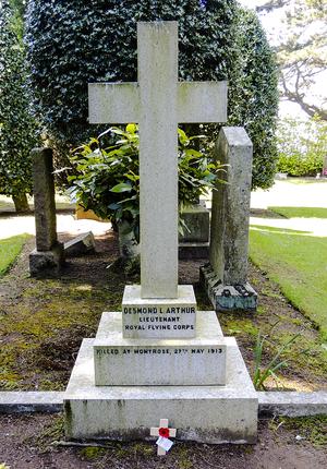 Desmond Arthur - Grave of Desmond Arthur at Sleepyhillock Cemetery, Montrose, Angus, Scotland.