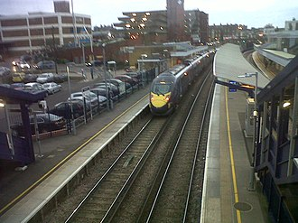Gravesend railway station - A London St Pancras to Faversham class 395 high speed train arrives at Platform 2 Gravesend