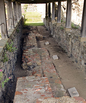 Deusdedit of Canterbury - The location of Deusdedit's unmarked grave, at St Augustine's Abbey in Canterbury. The graves marked with stones are those of Justus, Mellitus, and Laurence.