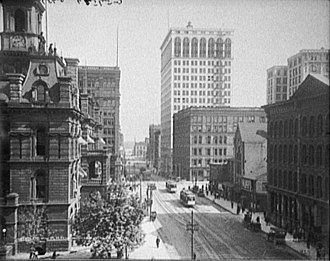 Detroit Financial District - Griswold looking south from Michigan Avenue, c. 1910. Note the Ford Building in center and the top of the original Penobscot Building at right.