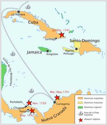 British operations in the Caribbean Sea during the War of Jenkins' Ear Guerra de la oreja de Jenkins.png