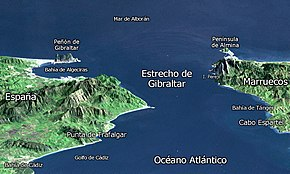 Map Of Spain Gibraltar And Morocco.Strait Of Gibraltar Wikipedia
