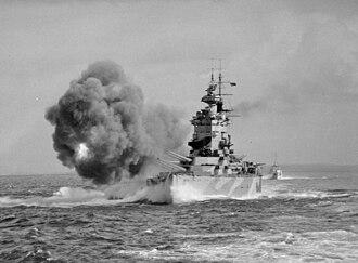BL 16 inch Mk I naval gun - HMS Nelson firing a salvo during gunnery trials, 1942