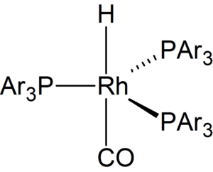 Hydroformylation - A generic rhodium catalyst, where PAr3 = triphenylphosphine or its sulfonated analogue Tppts. See tris(triphenylphosphine)rhodium carbonyl hydride.
