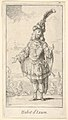 Habit d'Ixion- a man wearing a tonnelet with a sword in the belt, a turban with one large feather on his head, from 'New designs for costumes' (Nouveaux desseins d'habillements à l'usage des balets operas et comedies) MET DP832432.jpg