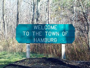 Hamburg, New York - Image: Hamburg NY Welcome sign Nov 10