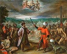 Hans von Aachen - Alegorie turecké války - Vyhlášení války před Konstantinopolem.jpg